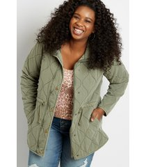 maurices plus size womens green quilted cinched waist jacket