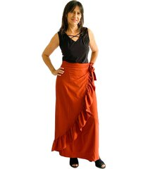 falda con boleros cruzada terracota plica