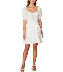 women's faithfull the brand dulcia floral long sleeve babydoll dress, size large - white