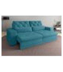 sofá 3 lugares net royale assento retrátil e reclinável turquesa 2,00m (l)