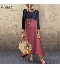 zanzea mujer primavera verano color bloque maxi largo del kaftan de la playa vestido del partido del club -rojo