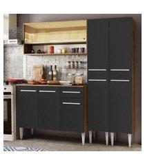 cozinha compacta madesa emilly winter com armário vidro reflex e balcão - rustic/preto cor:rustic/preto