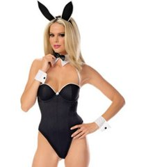 bustier bunny costume snap crotch teddy with ears cuffs & bow tie outfit