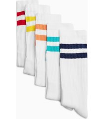 mens multi primary stripe white socks 5 pack