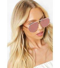 piloten zonnebril met matte top, rose gold