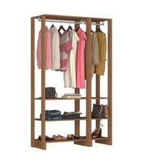 guarda roupa closet 2 peças c/ 2 cabideiros e 6 nichos yes nova mobile marrom