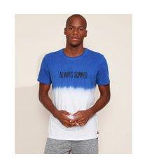 "camiseta masculina always summer"" com degradê manga curta gola careca branca"""