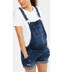 indigo blue maternity denim overalls