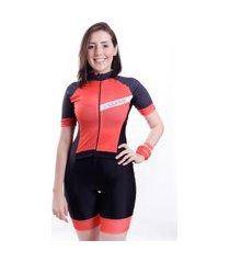 macaquinho de ciclismo manga curta wise sports joy vermelho