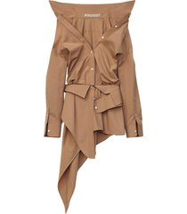 safari asymmetric deconstructed shirt dress