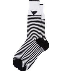 prada horizontal-stripe ankle socks - white