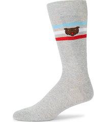 bear stripe crew socks