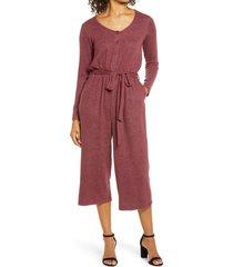 women's bobeau long sleeve brushed sweater knit jumpsuit, size x-small - burgundy