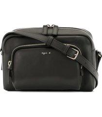 agnès b. zip-pocket logo crossbody bag - black