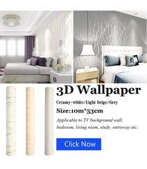 10m de onda de la raya no tejidas de la media luna congregación del papel pintado pared de papel decoración para el hogar - blanco