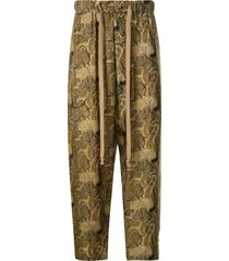 uma wang heron print pajama trousers - yellow
