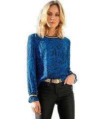 blouse amy vermont zwart::royal blue