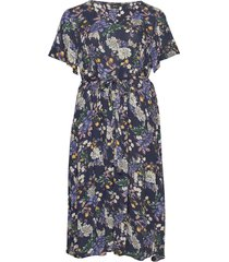 dress floral print plus short sleeves knälång klänning blå zizzi