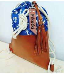 worek plecak w kotwice z brelokiem