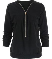stylish v-neck long sleeve loose-fitting zippered women's sweatshirt