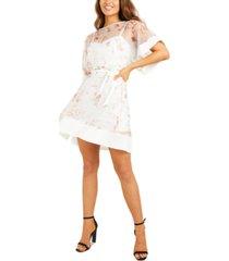 quiz printed organza belted dress
