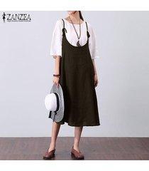 zanzea fiesta de verano para mujer vestido de chaleco con tiras y una línea larga vestido de verano kaftan -marrón