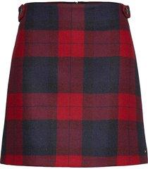 wool red check mini skirt kort kjol röd tommy hilfiger