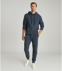reiss berwick - garment dyed hoodie in airforce blue, mens, size xxl