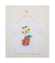 camiseta masculina plus size os simpsons manga curta gola careca branca