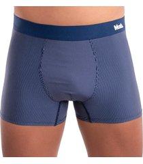 cueca modelo boxer listras em risca de giz em microfibra mash - azul - masculino - dafiti