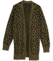 lucky brand leopard mid-length cardigan