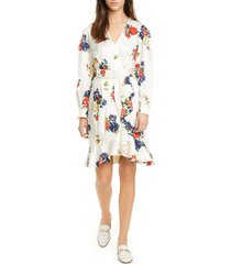 women's tory burch floral print long sleeve silk wrap dress
