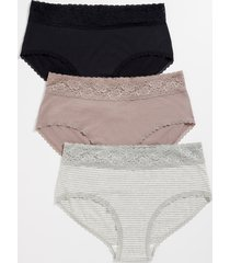 maurices plus size womens 3 pack stripe cotton brief pantsies purple