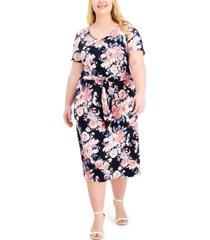 connected plus size floral-print tie-waist sheath dress