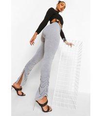 geplooide leggings met split, grijs gemêleerd