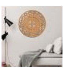 escultura de parede wevans mandala abstrat flower, madeira + espelho decorativo único