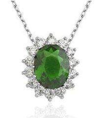 colar le diamond zircônia esmeralda - feminino