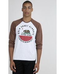 "camiseta masculina ""california republic"" raglan manga longa gola careca cinza mescla"