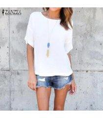 zanzea blusas de las mujeres del verano camisas o cuello de manga corta blusas tees flojo ocasional tops más el tamaño s-5xl -blanquecino
