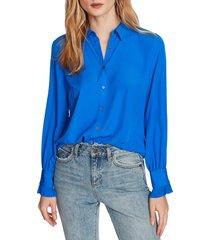 women's court & rowe ruffle cuff blouse, size xx-small - blue