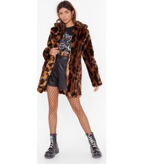 womens curl up leopard faux fur coat - brown