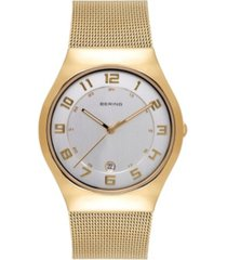 bering women's classic gold-tone stainless steel mesh bracelet watch 37mm