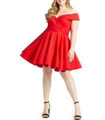 plus size women's mac duggal portrait collar skater dress, size 24w - red