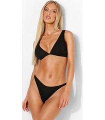 gekreukelde bikini top met laag decolleté en vollere cups, black