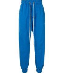 daniel patrick stitched logo track pants - blue