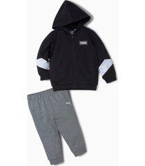 minicats joggingpak met ronde hals baby's, zwart, maat 104   puma