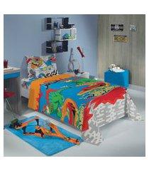 jogo de cama solteiro infantil lepper hot wheels 3 peças azul