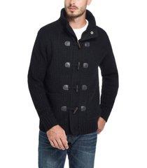 men's toggle waffle stitch sweater jacket