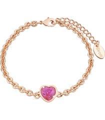 bracciale cuore in metallo rosato e pietre colore per donna