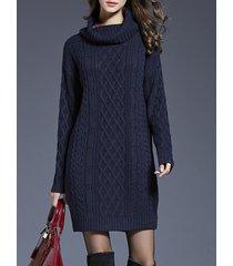 donna casual maglione lungo lavorato a maglia a dolcevita a maniche lunghe